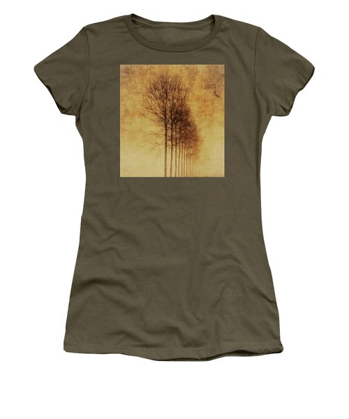 Women's T-Shirt (Junior Cut) featuring the mixed media Textured Eerie Trees by Dan Sproul