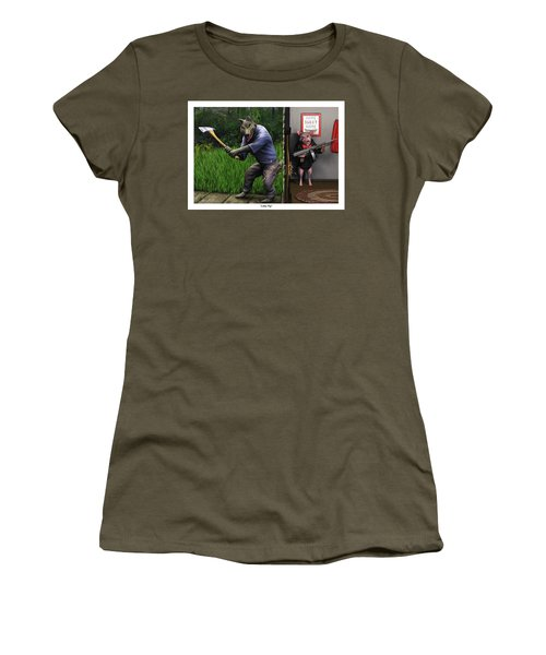 Women's T-Shirt (Junior Cut) featuring the painting That's What You Think Wolf by Dave Luebbert