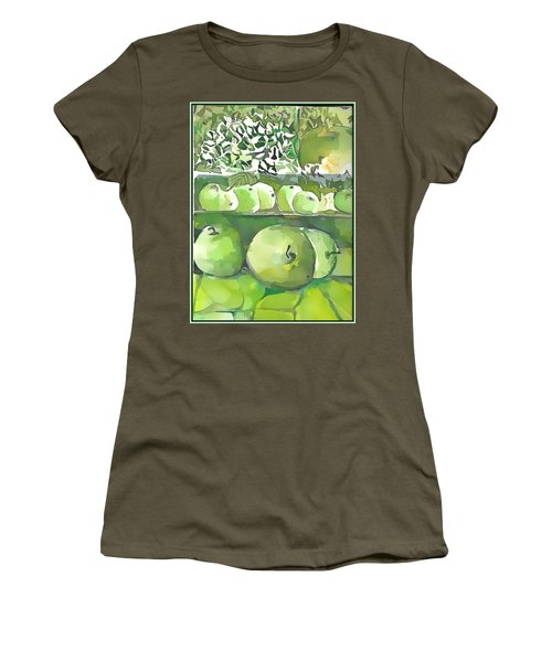 Women's T-Shirt (Junior Cut) featuring the painting The Apple Closet by Mindy Newman