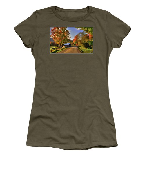 Women's T-Shirt featuring the photograph The Barn At The Bend by Wayne King
