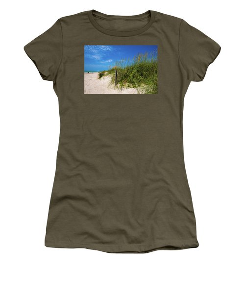 Women's T-Shirt (Junior Cut) featuring the photograph The Beach At Pine Knoll Shores by John Harding