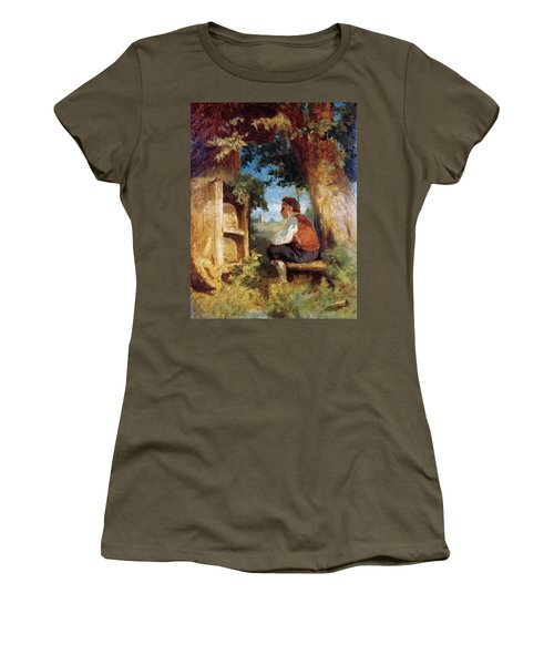 Women's T-Shirt featuring the painting The Bee Friend by Hans Thoma