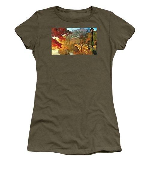 The Bow Bridge Nyc  Women's T-Shirt (Junior Cut) by Maciek Froncisz