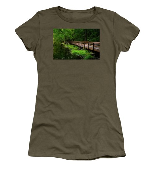 Women's T-Shirt (Junior Cut) featuring the photograph The Bridge At Wolfe Park by Karol Livote