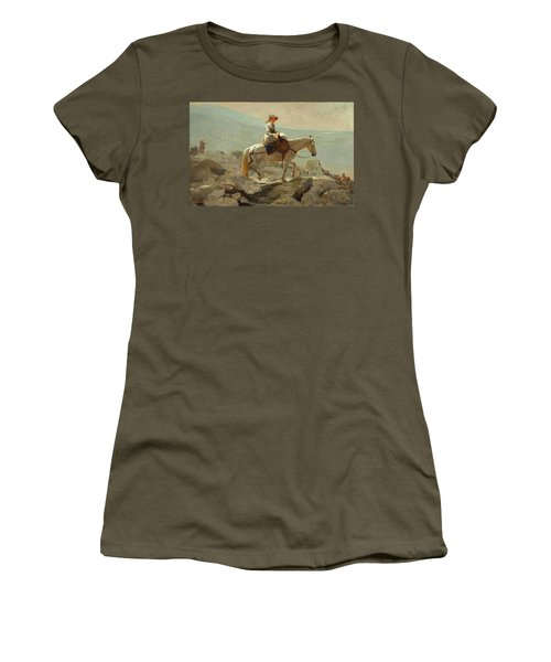 Women's T-Shirt (Junior Cut) featuring the painting The Bridle Path, White Mountains - 1868 by Winslow Homer