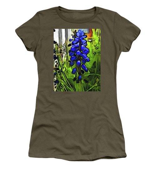 The Cobalt Blue Flowers And The Long Green Grass Women's T-Shirt (Athletic Fit)