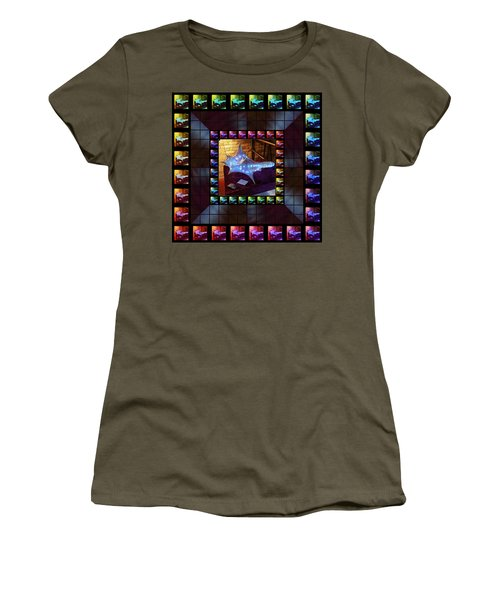 Women's T-Shirt (Athletic Fit) featuring the sculpture The Crystal Shell - Illuminated by Shawn Dall