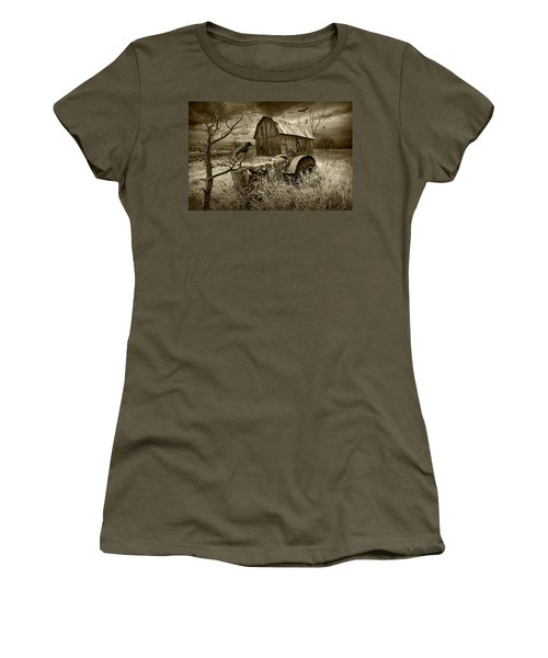 Women's T-Shirt (Junior Cut) featuring the photograph The Decline And Death Of The Small Farm In Sepia Tone by Randall Nyhof