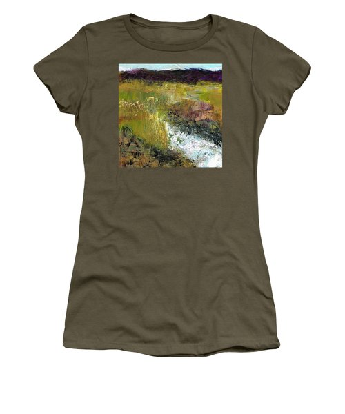 Women's T-Shirt (Junior Cut) featuring the painting The Farmers Ditch Fall by Frances Marino