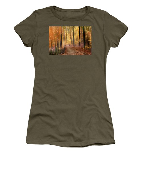 Women's T-Shirt featuring the photograph The Flickering Forest by Jessica Jenney