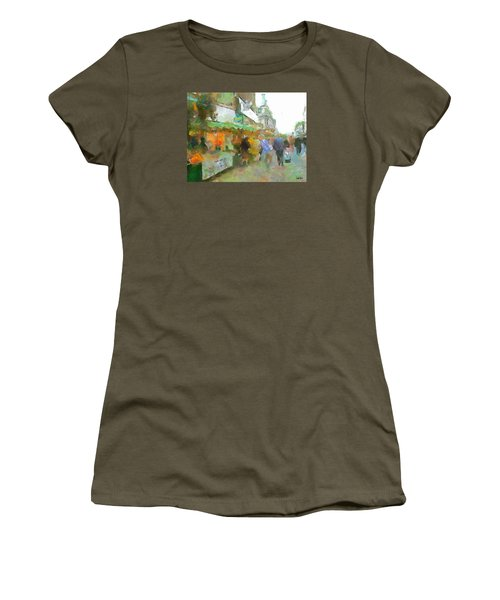 Women's T-Shirt (Junior Cut) featuring the painting The Food Fair by Wayne Pascall