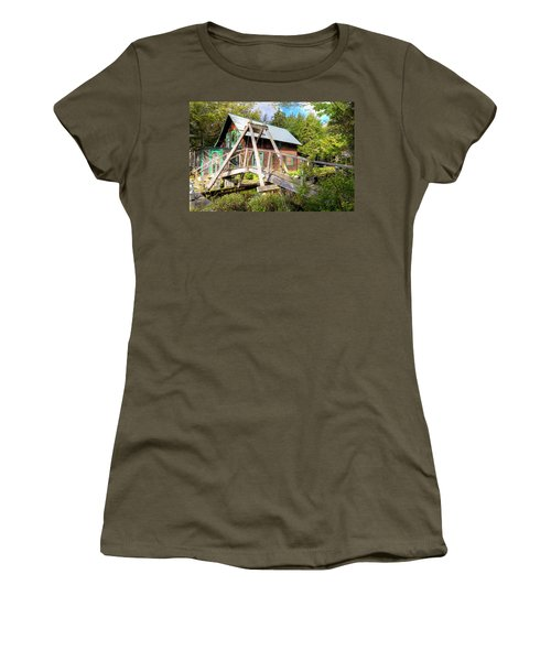 Women's T-Shirt (Athletic Fit) featuring the photograph The Footbridge At Palmer Point by David Patterson
