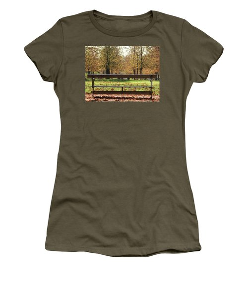 The French Bench And The Autumn Women's T-Shirt (Junior Cut) by Yoel Koskas