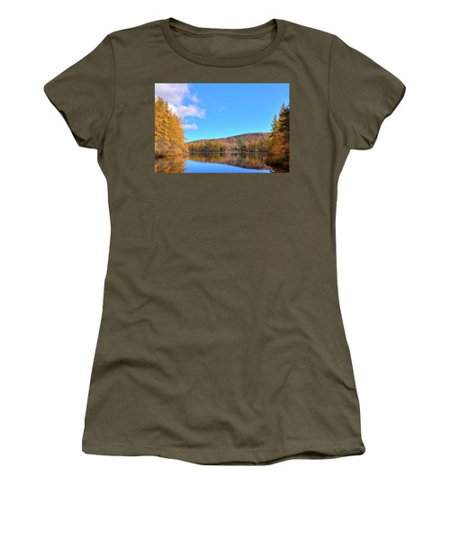 Women's T-Shirt (Junior Cut) featuring the photograph The Golden Tamaracks Of Woodcraft Camp by David Patterson