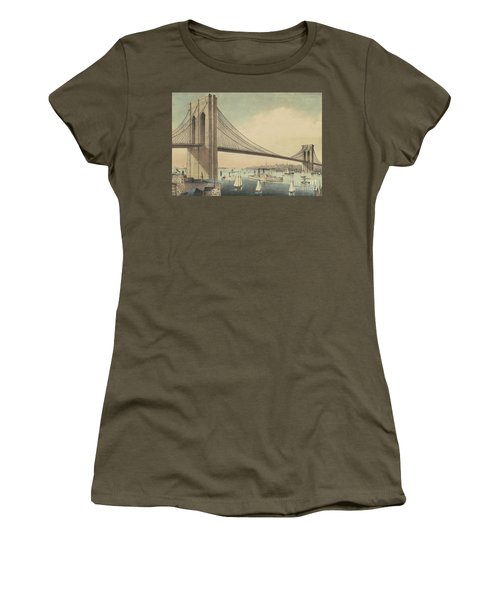 The Great East River Suspension Bridge Connecting Manhattan And Brooklyn Women's T-Shirt