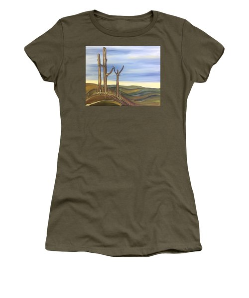 Women's T-Shirt (Junior Cut) featuring the painting The Guardians by Pat Purdy