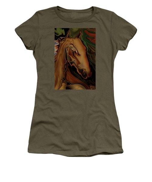 Women's T-Shirt (Junior Cut) featuring the digital art The Horse by Rabi Khan