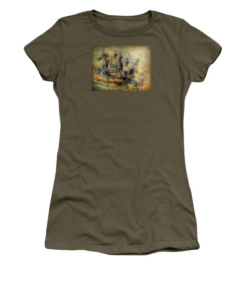 Women's T-Shirt (Junior Cut) featuring the painting The Lost City By Sherriofpalmsprings by Sherri  Of Palm Springs