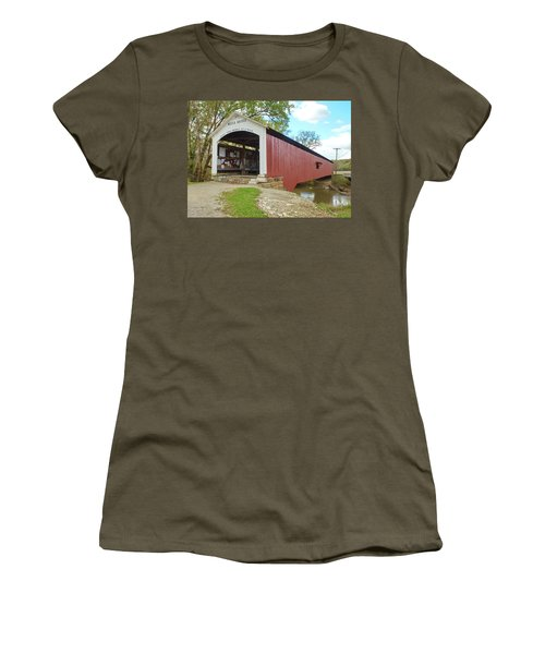Women's T-Shirt (Junior Cut) featuring the photograph The Mecca Covered Bridge by Harold Rau