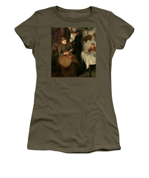 Women's T-Shirt (Junior Cut) featuring the painting The Message by Henry Scott Tuke
