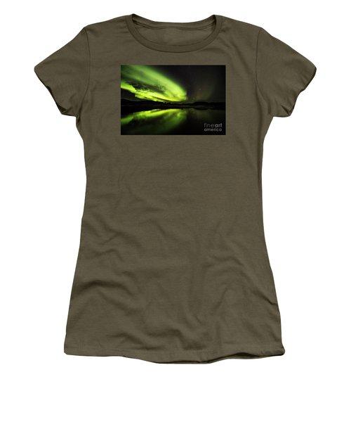 The Northern Lights Thingvellir Women's T-Shirt (Junior Cut) by Gunnar Orn Arnason