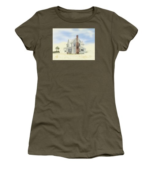 Women's T-Shirt (Athletic Fit) featuring the painting The Home Place - Silent Eyes by Joel Deutsch