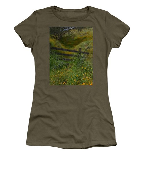 Women's T-Shirt (Junior Cut) featuring the photograph The Old Wooden Fence by Debby Pueschel
