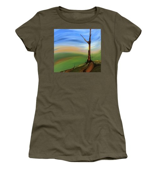 Women's T-Shirt (Junior Cut) featuring the painting The Painted Sky by Pat Purdy