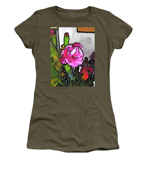 The Pink Flower With The Burgundy Buds Women's T-Shirt (Athletic Fit)
