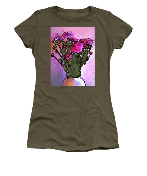 The Pink Flowers With The Long Stems In The Vase Women's T-Shirt (Athletic Fit)