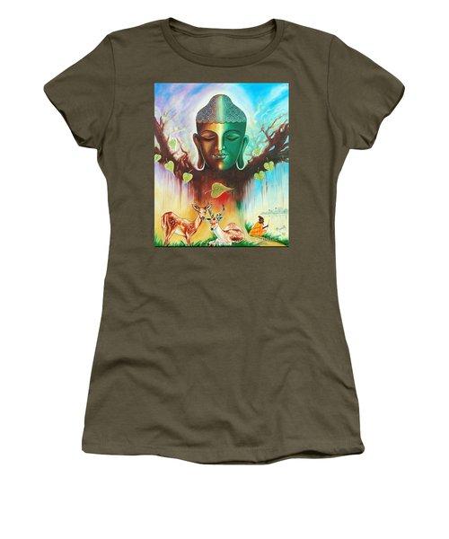 Women's T-Shirt (Junior Cut) featuring the photograph The Power Of Buddha by Ragunath Venkatraman