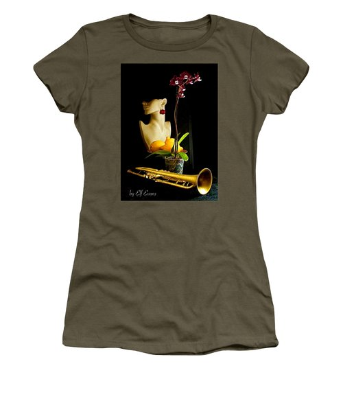Women's T-Shirt (Athletic Fit) featuring the photograph The Purple Orchid by Elf Evans