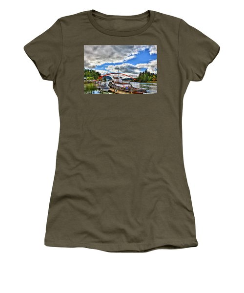 The Rainbow Bridge - Laconner Washington Women's T-Shirt (Junior Cut) by David Patterson