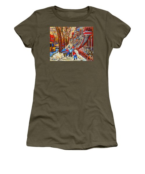 The Red Staircase Painting By Montreal Streetscene Artist Carole Spandau Women's T-Shirt