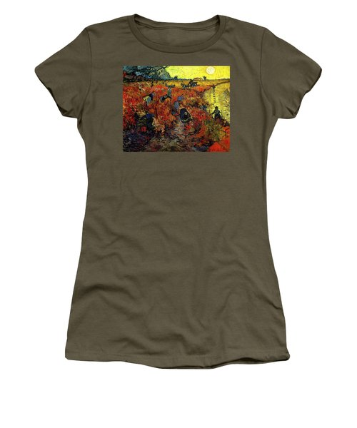 Women's T-Shirt featuring the painting The Red Vineyard At Arles by Van Gogh