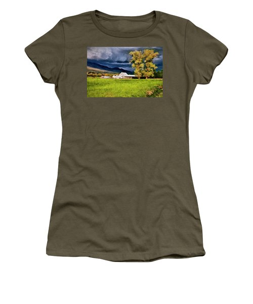 Women's T-Shirt (Junior Cut) featuring the digital art The Right Place At The Right Time by James Steele