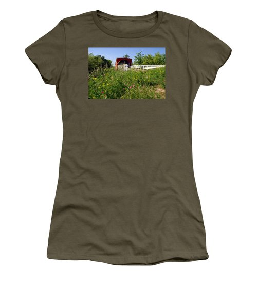The Roseman Bridge In Madison County Iowa Women's T-Shirt (Athletic Fit)