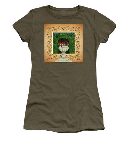 Women's T-Shirt (Junior Cut) featuring the digital art The Roses Urn by Donna Huntriss
