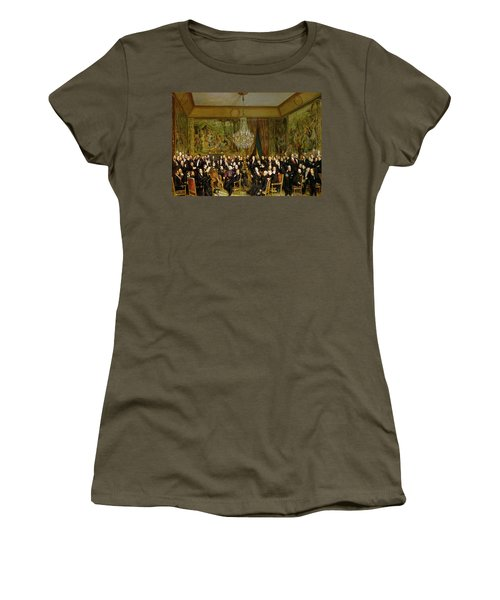 The Salon Of Alfred Emilien At The Louvre Women's T-Shirt (Junior Cut) by Francois Auguste Biard