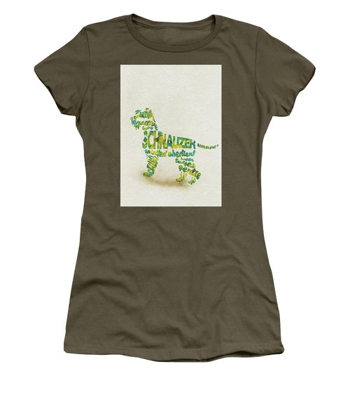 Women's T-Shirt (Athletic Fit) featuring the painting The Schnauzer Dog Watercolor Painting / Typographic Art by Ayse and Deniz