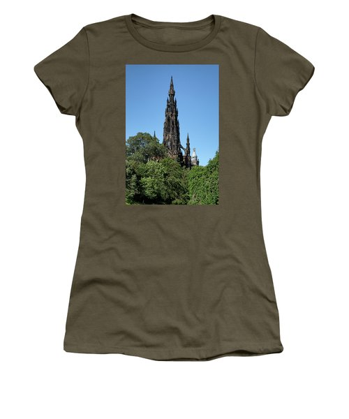 Women's T-Shirt (Athletic Fit) featuring the photograph The Scott Monument In Edinburgh, Scotland by Jeremy Lavender Photography