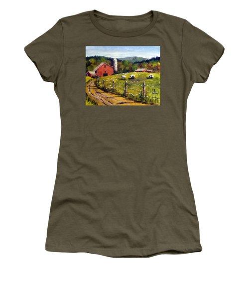 The Sheep Farm Women's T-Shirt (Junior Cut) by Jim Phillips