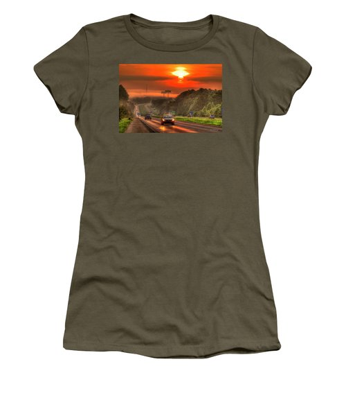 The Sunrise Commute Georgia Interstate 20 Art Women's T-Shirt (Athletic Fit)