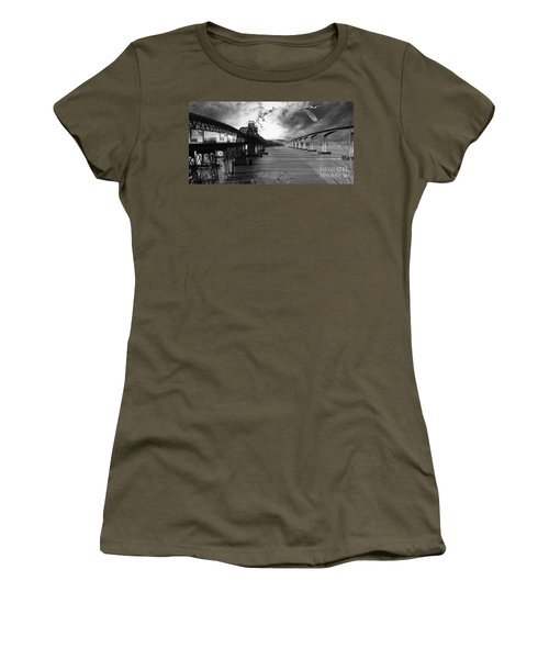 The Three Benicia-martinez Bridges . A Journey Through Time . Black And White Women's T-Shirt