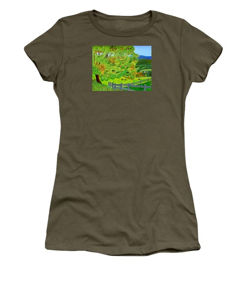 Women's T-Shirt (Junior Cut) featuring the painting The Tree Of Joy by Magdalena Frohnsdorff