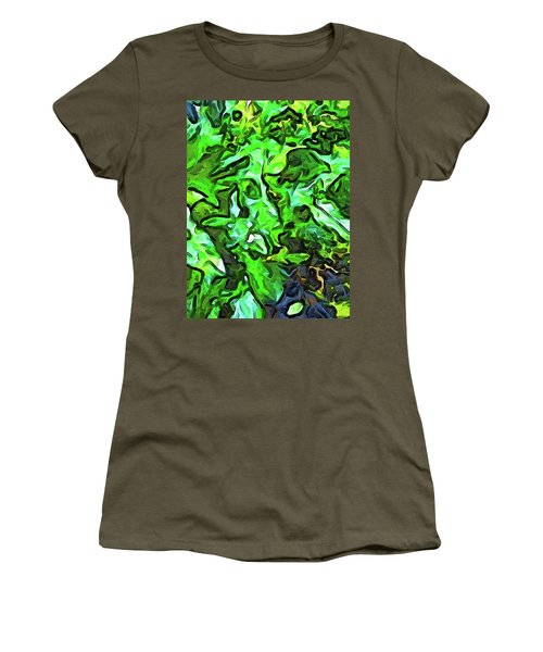 The Tropical Green Leaves With The Wings Women's T-Shirt (Athletic Fit)