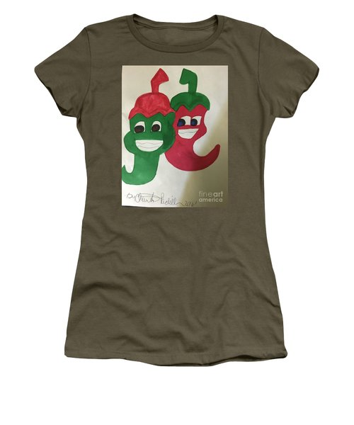 The Two Hot Peppers  Women's T-Shirt (Athletic Fit)