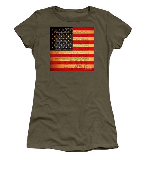 The United States Declaration Of Independence - American Flag - Square Women's T-Shirt