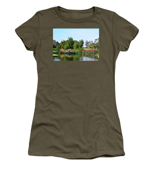 Women's T-Shirt (Junior Cut) featuring the photograph The Water On Number One Santa Maria Country Club by Barbara Snyder