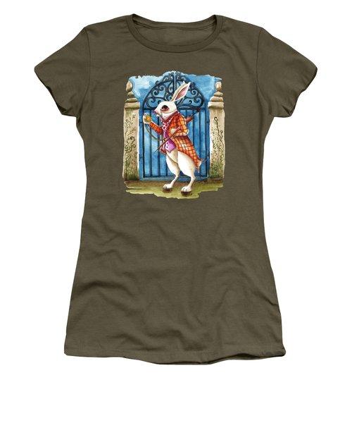The White Rabbit Late Again Women's T-Shirt (Junior Cut) by Lucia Stewart